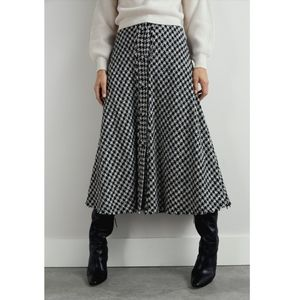 NWT Zara Houndstooth Black White Maxi Skirt sz S